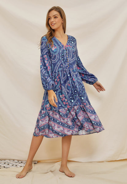 Women Sexy V Neck Long Sleeve Print Bohemia Dress