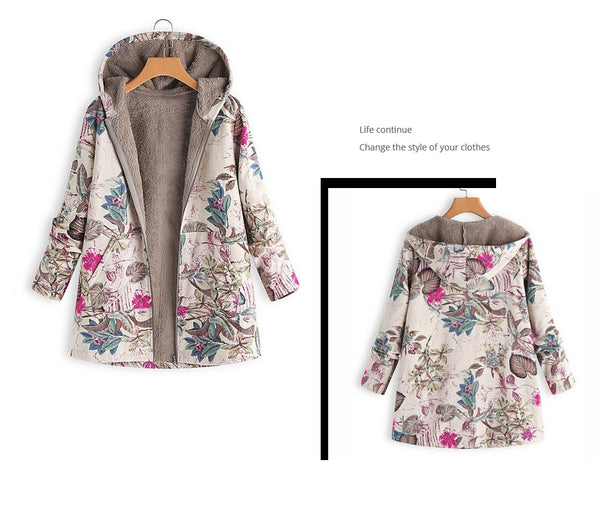 Floral Print Hooded Pockets Vintage Plus Size Coats