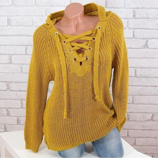 Autumn Winter Casual V Neck Knitted Loose Hooded Sweater