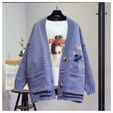 Women Cartoon Embroidery Single Breasted knitted Cardigans Sweater