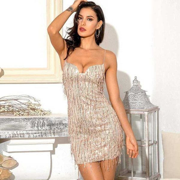 Sexy Spaghetti Strap Twinkling Christmas Party Mini Dress