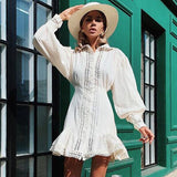 Women Lantern Sleeve Lace Hollow Out Vintage Sexy Mini Dress