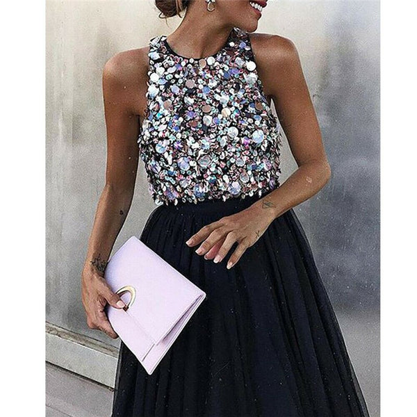 Sexy Black Sequins Evening Party Tulle Dress