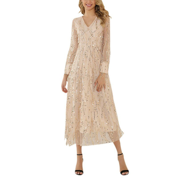 Women Bohemia Sexy V-Neck Long Sleeve Sequins Tights Maxi Dress