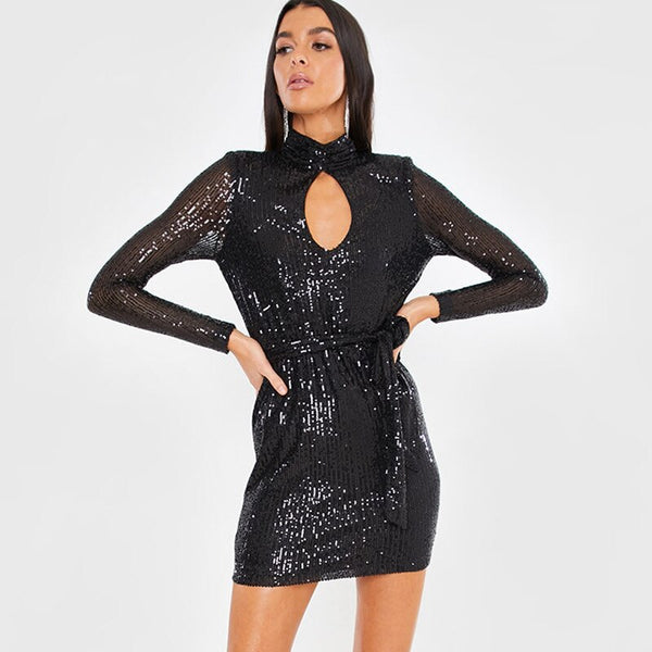 New Long-sleeved Sequin Hollowed Sexy Nightclub Mini Dresses