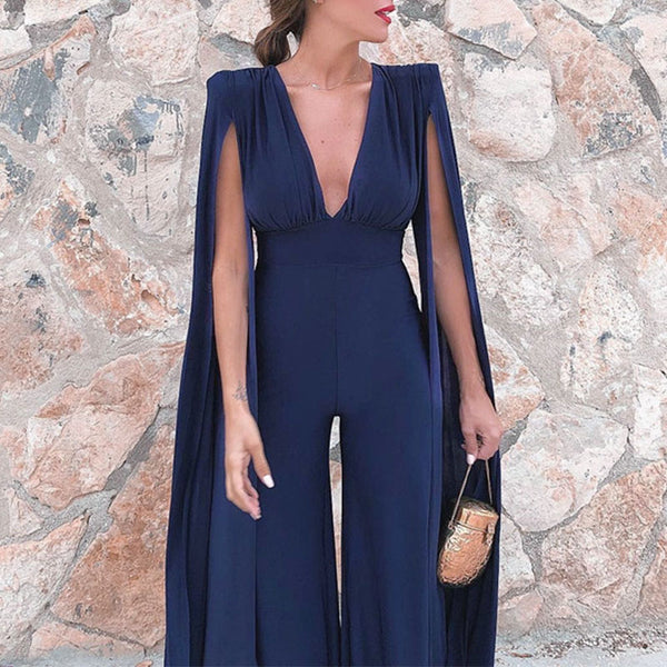 Plus Size V Neck Long Sleeve Elegant Slim Wide Leg Jumpsuits