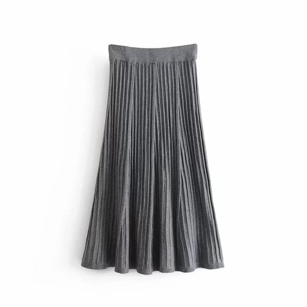 Vintage Simple Style Knitting Long A-line High Waist Skirt