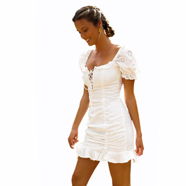 V-neck White Elegant Party Short Sleeve Slim Chic Bodycon Dresses