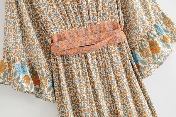 Boho Vintage Floral Print Kimono Sleeve Long Dress