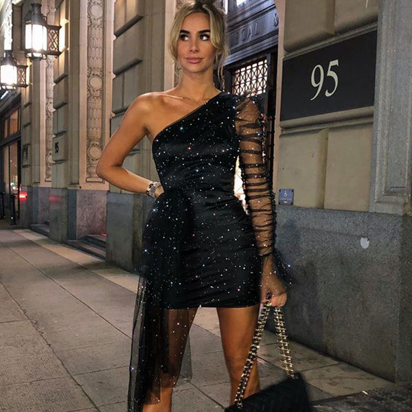 Black One Shoulder Glitter Party Mini Dress