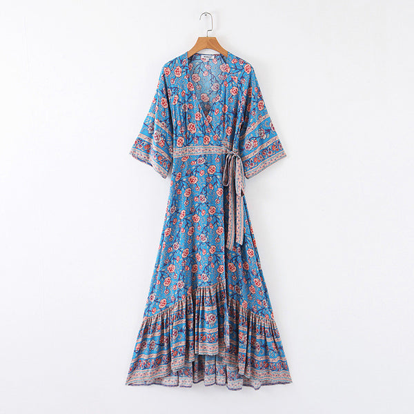 Spanish Rose 3/4 Sleeve Casual Maxi Dress