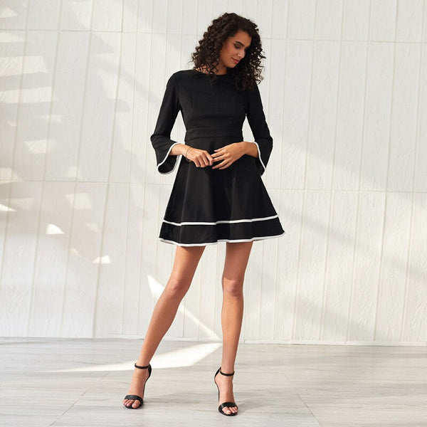 New Bouncing A-word Flared Sleeves Solid Mini Dress