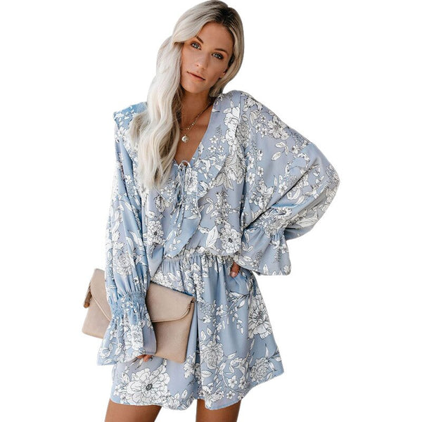 Women Ruffles Floral Print Flare Long Sleeve Sexy Mini Dress