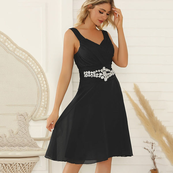 Women Summer Plus Size Elegant Sexy V Neck Mini Dress