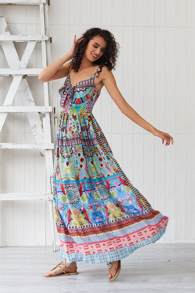 Women Summer Floral V Neck Backless Long Bohemia Dress