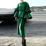 Women Double Breasted Notch Wool Flare Sleeve Long Coats