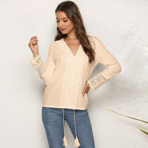 Women Chiffon V-neck Long Sleeves Hollow Out Blouse Tops