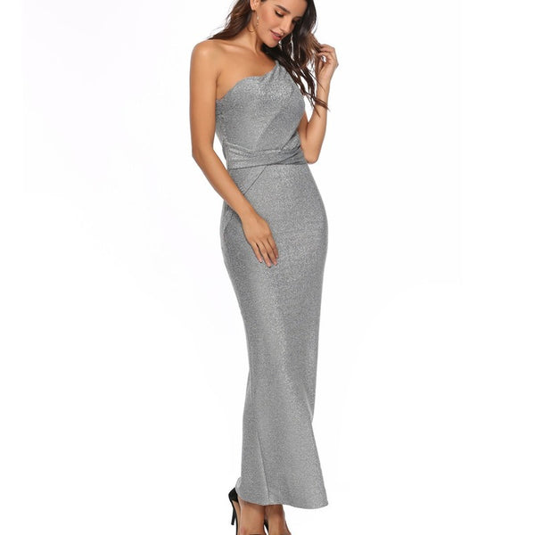 Silver Sequin One Shoulder Sleeveless Backless Party Dress