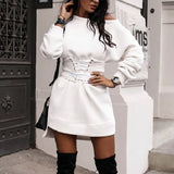 Long Sleeve Fleece Thick Dress+Waistband Belt Bandage Mini Dress