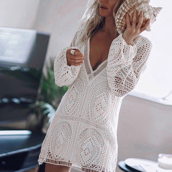 Hollow Deep V Neck Beach Mini Dress