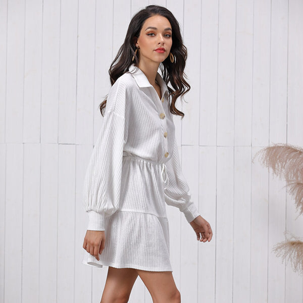 White Stripe Long Sleeve Loose Casual Party Mini Dress