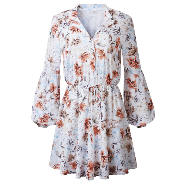 Women Ruffled Vintage Print Irregular Mini Dress