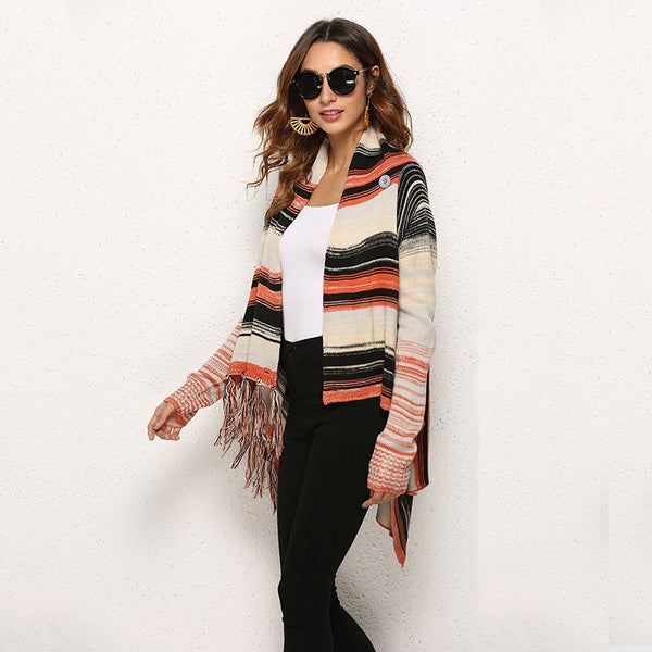 Knitted Long Sleeve Tassel Cardigan Sweater