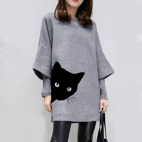 O-neck Cat Print Knitted Pullover Loose Sweatshirt