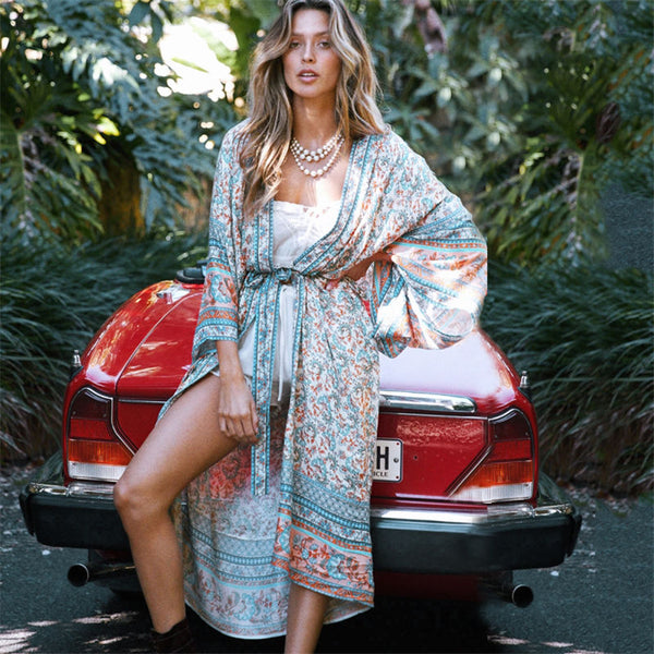 Bohemian Printed Self Belted Loose Summer Beach Cardigans