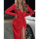 Elegant High Split Deep V Neck Long Prom Party Evening Dress