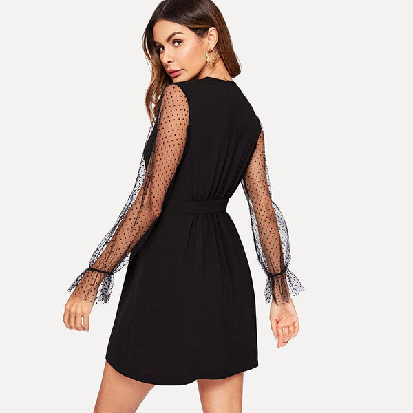Women Deep V-Neck Long Sleeve Lace Mesh Spliced High Waist Mini Dress
