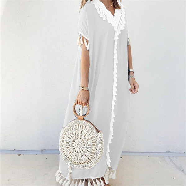 Sexy V-neck Tassel Maxi Dress