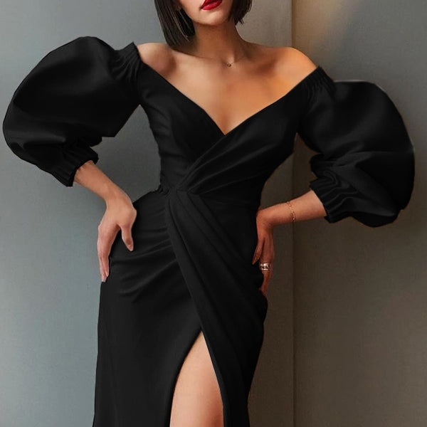 Sexy High Split V Neck Puff Sleeve Bodycon Dresses