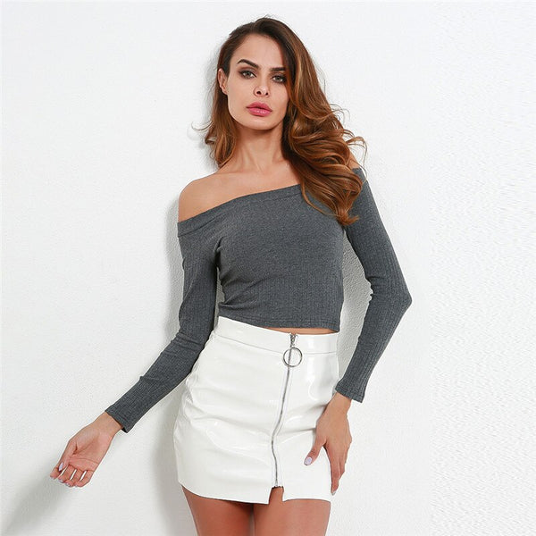 Women Off Shoulder Crop Top T-Shirts