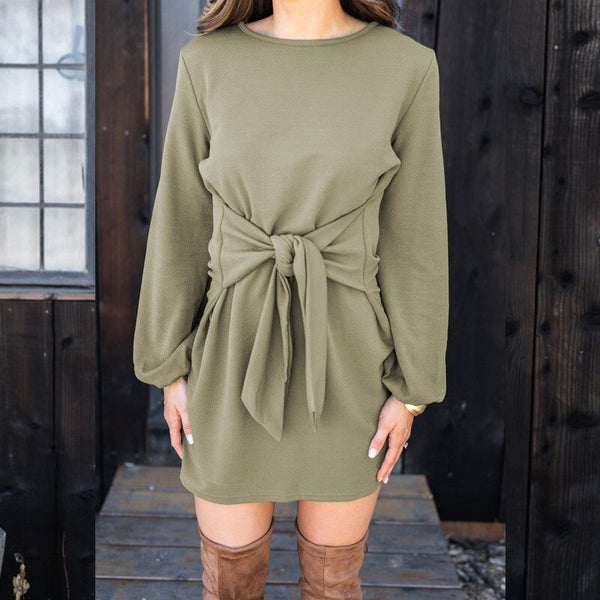 Solid Casual O-neck Chic Mini Dress