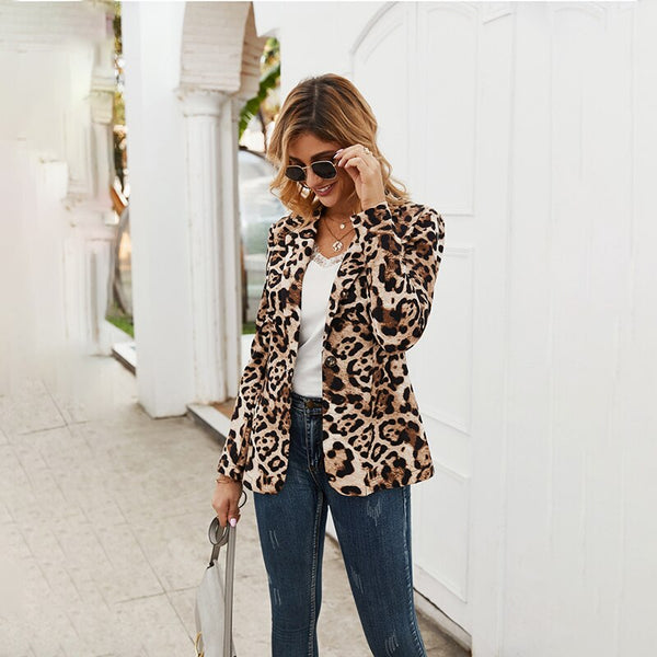 Women Leopard One Button Casual Blazer Suit Jacket