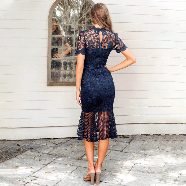 Sexy Lace Hollow Out Elegant Bodycon Dresses