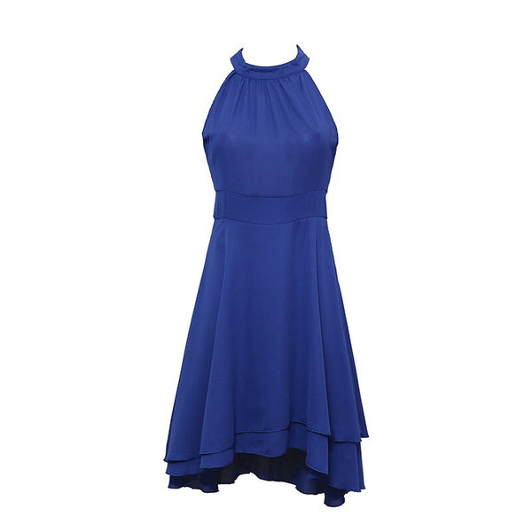 Women Solid Pleated Chiffon Sexy Sleeveless Asymmetric Party Evening Dress
