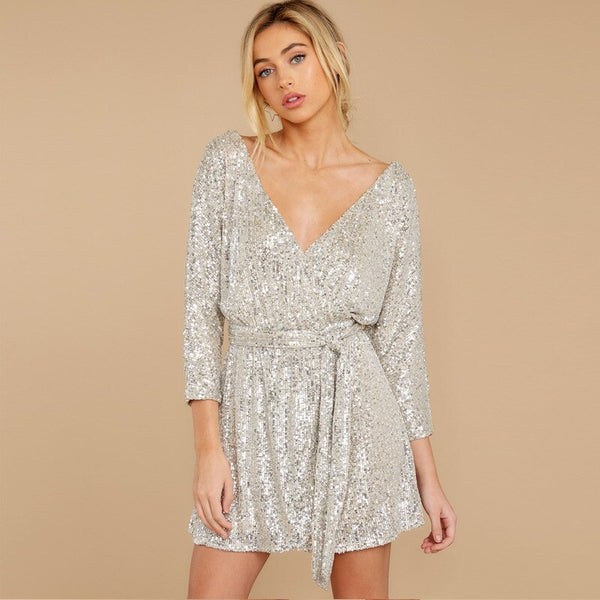 New V-neck Sequin Long-sleeve Sexy Party Mini Dress