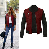 Women O-neck Zipper Stitching Quilted  Bomber Jacket