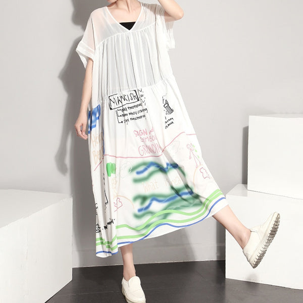 Summer Women Round Neck Short Sleeve Black Letter Printed Maxi Dress