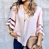 Women V Neck Flared Sleeves Blouse Female Shirt Casual Loose Mesh Patchwork Shirts