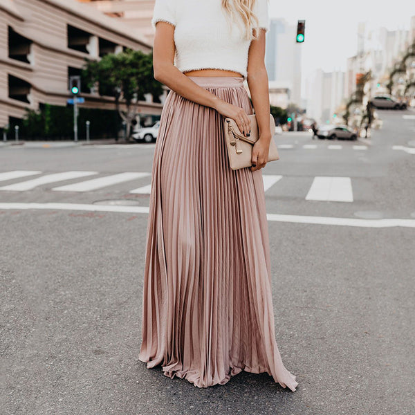Summer Women Fashion Solid Color Elastic High Waist Skirt