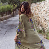 New Pattern Heavy Flower Embroidery Asymmetrical Patchwork Cardigan Maxi Dress