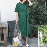 Women O Neck Half Sleeve Loose Oversize Irregular Hem Maxi Dress