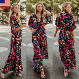 Women Vintage High Waist V-neck  Floral Short Sleeve Maxi Dress