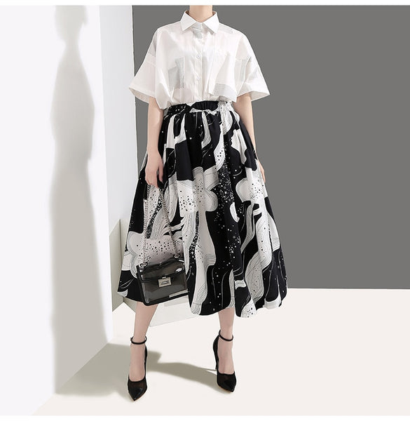 Summer High Elastic Waist Black Pattern Printed Temperament Half-body Skirt