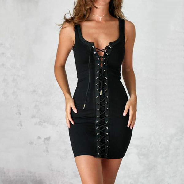Sexy Women Lace Up Sleeveless Bodycon Dress
