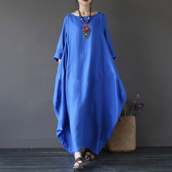 Summer Plus Size Women vintage long sleeve Maxi dress