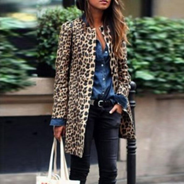 Women Fashion Leopard Print  Casual Turn-Down Collar Jacket